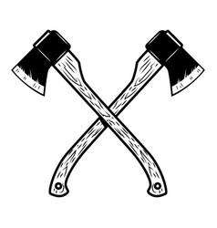 Crossed lumberjack axes isolated on white vector