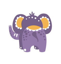 Cute cartoon elephant character back view vector