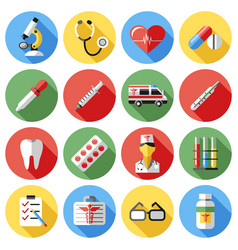Digital red yellow blue medical icons vector