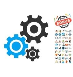 Gear mechanism icon with 2017 year bonus symbols vector