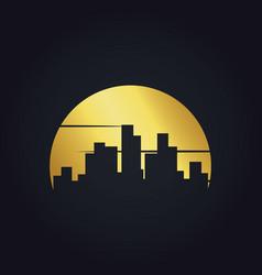 Gold cityscape building urban logo vector