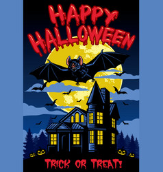 Halloween design with bat and hanted house vector