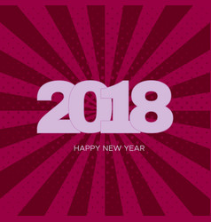 Happy new year 2018 label on pink background vector