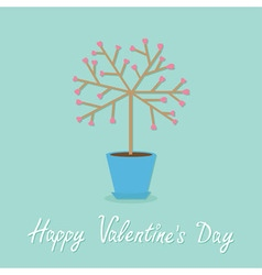 Happy valentines day love card tree in the pot vector