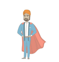 Hindu businessman dressed as a superhero vector