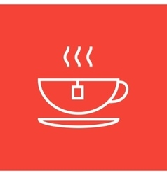 Hot tea in cup line icon vector