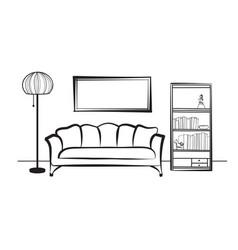 interior furniture sofa floor lamp book shelf vector image