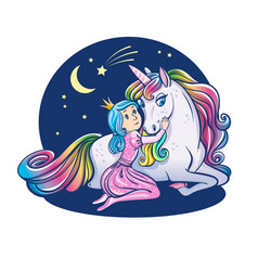 little princess girl and cute unicorn vector image vector image