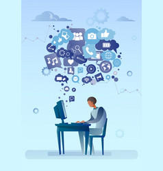 Man using computer with chat bubble of social vector