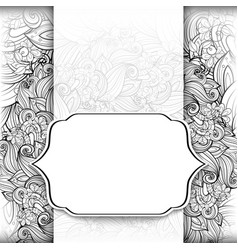 monochrome floral template with place for text vector image vector image