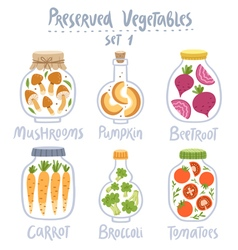 Preserved vegetables in jars set 1 vector image