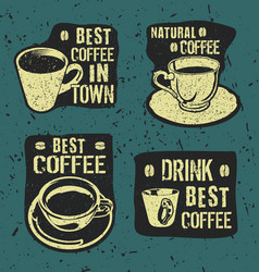 retro vintage coffee labels vector image