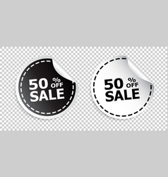 Sale sticker sale up to 50 percents black and vector
