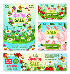 Spring sale best price offer banner with flowers vector