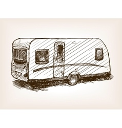 Travel trailer hand drawn sketch vector image vector image