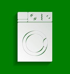 Washing machine sign paper whitish icon vector