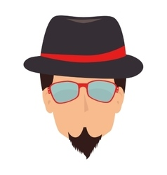 Man hipster hat moustache isolated vector