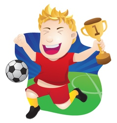 Winner playing soccer vector