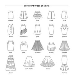 Set of different types of skirts vector