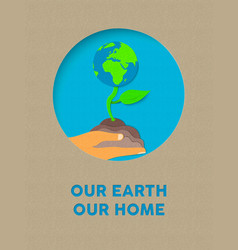 Earth day paper cut nature plant and text quote vector