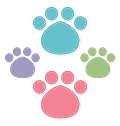 Paw prints color on white background vector