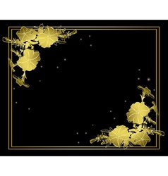 Black floral card with gold decorations vector