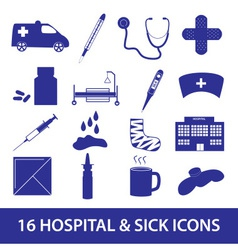 Hospital and sick icon set eps10 vector