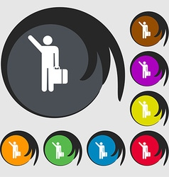 Tourist icon sign symbol on eight colored buttons vector