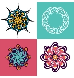 Circle ornament set vector