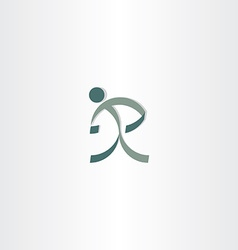 Letter r man sign logo design vector