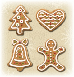 Set of gingerbread christmas cookies on beige vector