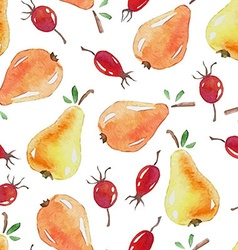 Seamless patterns with watercolor pears and vector