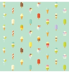 Flat seamless pattern with ice creams vector