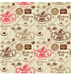 Afternoon tea background pattern vector
