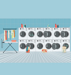 A row of industrial washing machines in laundry vector