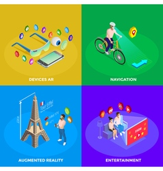 Augmented Reality 4 Isometric Icons Square vector image vector image