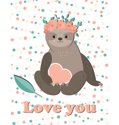 card with cute girl sloth in floral wreath vector image vector image