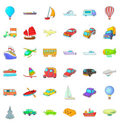 Country vehicle icons set cartoon style vector
