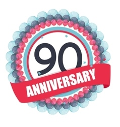 Cute template 90 years anniversary with balloons vector