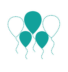 Dotted shape balloons objects decoration to vector