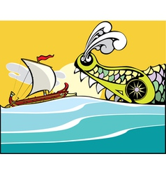 Greek ship and sea monster vector
