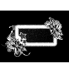 grunge floral frame with stars vector image vector image