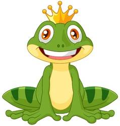 Happy cartoon king frog vector image vector image