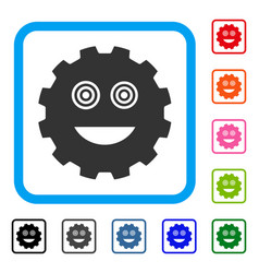 Mad smiley gear framed icon vector