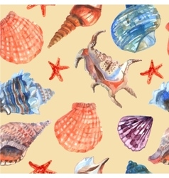 Marine shell seamless pattern vector image vector image