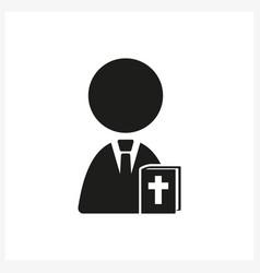 Nun and bible icon in simple black design vector