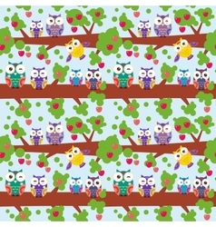 Seamless pattern set bright colorful owls on the vector
