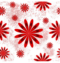 seamless pattern with red flowers on white vector image vector image