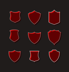 Set of red badges label designs vector