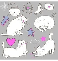 set with doodle white cat vector image vector image